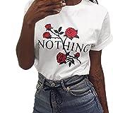 Siswong Pull Chic Femme T-Shirt Eté Sweat-Shirt Ados Fille Imprimé Rose Pull Chic...