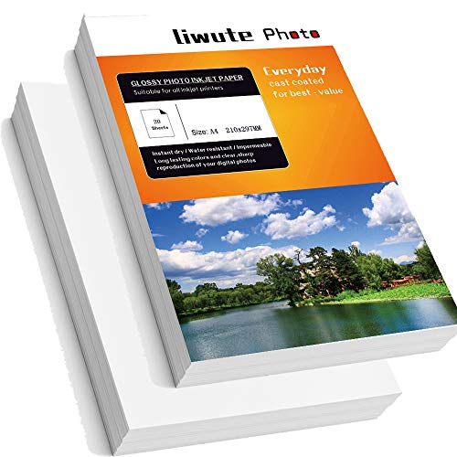 "LIWUTE Double Sided Glossy Photo Paper,Dries Immediately,Double-Sided Printfor, for Laser Printers, Professional Color Laser Printing Paper,A4, 11.7"" x 8.3"", 128 gsm,50 Sheets"