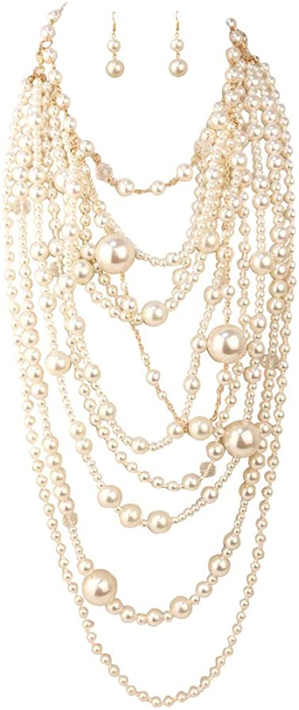 GRACE JUN Multilayer Strand Chain Faux Pearls Flapper Beads Cluster Long Choker Necklace