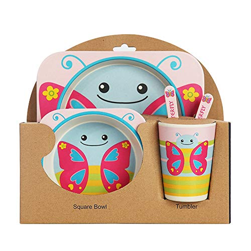 Ramingt-Kitchenware Vajillas niños Infantil Animales de diseño de 5 Piezas de vajilla de bambú - Niños Plato, Tazón, Taza, Tenedor y Cuchara niños de vajilla (Color : Mariposa, tamaño : Free Size)