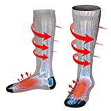Rechargeable Electric Heated Socks,Men Women Battery Operated Heating Socks,Sports&Outdoors Winter Warm Thermal Heated Sock,Climbing Hiking Skiing Hunting Heated Soxs,Upgraded Foot Warmer,Grey,Size L
