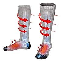 Men Women Rechargeable Electric Heated Socks Battery Heat Thermal Sox,Sports Outdoor Winter Novelty Warm Heating Sock,Climbing Hiking Skiing Foot Boot Heater Warmer(Black/Grey/Navy,L) (Grey, M)