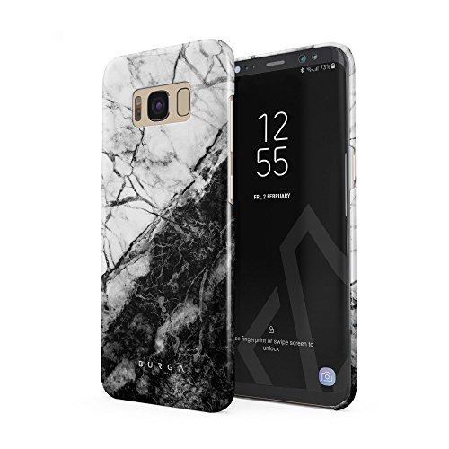 BURGA Hülle Kompatibel mit Samsung Galaxy S8 - Handy Huelle Weiß Und Schwarz Marmor Muster Marble Yin Und YangMädchen Dünn Robuste Rückschale aus Kunststoff Handyhülle Schutz Case Cover