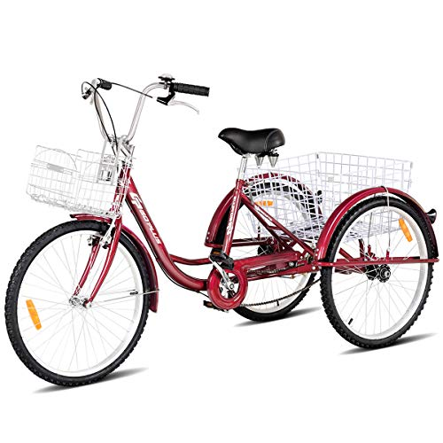 Goplus Adult Tricycle Trike Cruise Bike Three-Wheeled Bicycle with Large Size Basket for Recreation,...