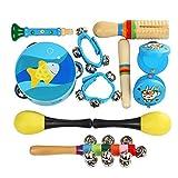 barsku Musikinstrumente Spielzeug Set für Kinder, 10PCS Holz Schlaginstrumente für Kleinkinder, Vorschule & Lernspielzeug mit Sandhammer, Handglocke, Klingelring, Kleiner Lautsprecher