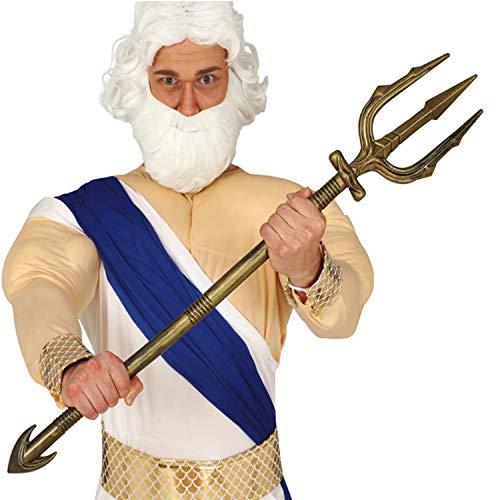 Amakando Majestuoso tridente Neptuno - Dorado 94 cm - Vara Plegable Dios del mar - Incomparable para Fiesta temática y Fiesta de Disfraces