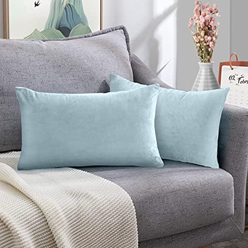 FORTRY Juego de 2 fundas de cojín de terciopelo suave y sólido, 40 x 80 cm, funda decorativa para sofá, dormitorio, cojín lumbar, funda de cojín azul cielo