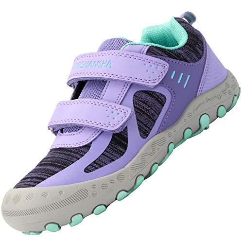 Mishansha Kinderschuhe Trekking Wanderschuhe rutschfest Hallenschuhe Mädchen Walking Schuhe Freizeit Turnschuhe Violett, Gr.38 EU