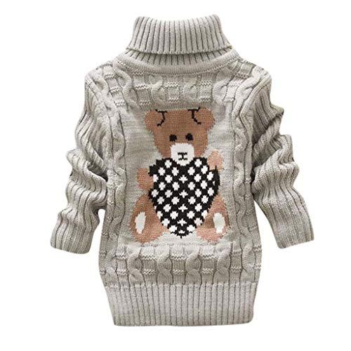 WFRAU Kleinkind Baby Weihnachten Dick Sweatshirt Mädchen Kinder Elch Elch Stricken/Einfarbig Lange Ärmel Rundhals Häkeln Vlies Warme Tops Oberteile Oberbekleidung Anzug für 1-3 Jahre