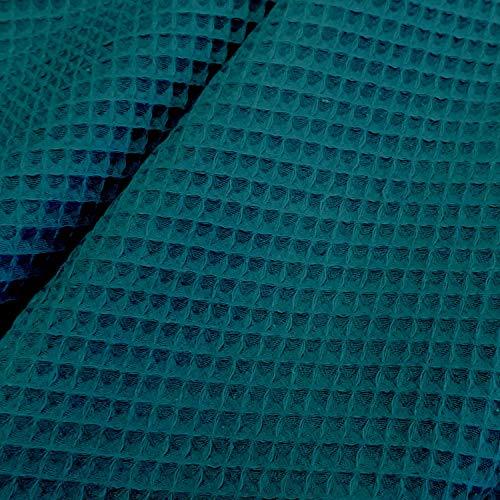 Stoff Meterware Waffelpique Waffelpiqué Petrol für Handtuch Bademantel Waffelpikee