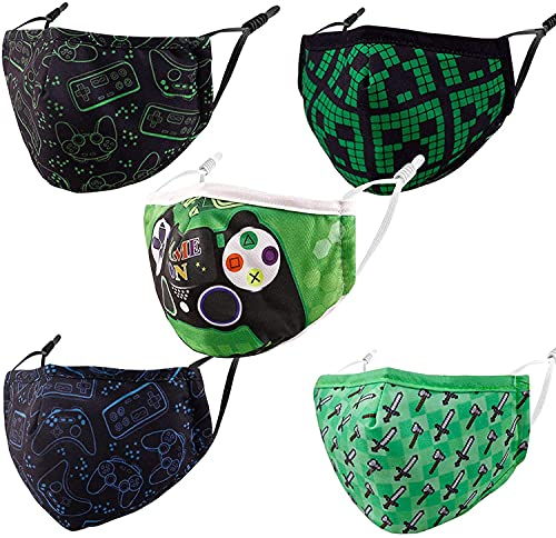Kids Face Mask Masks Washable, Breathable Cloth Reusable Boys Facemask Black Cotton Funny Designer Fabric Cover Youth Children Child Teen Madks with Adjustable Nose Wire Earloop