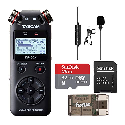 Tascam DR-05X Stereo Handheld Audio Recorder and USB Audio Interface with 32GB MicroSD Card, Knox Clip-On Lavalier Mic and Focus USB Card Reader