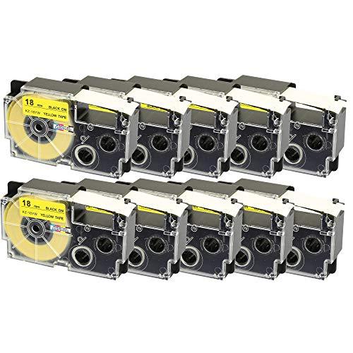 10 Cassettes XR-18YW XR-18YW1 nero su giallo 18mm x 8m Nastri compatibili per Etichettatrice CasioKL-60 KL-100 KL-120 KL-200 KL-300 KL-750 KL-780 KL-820 KL-2000 KL-7000 KL-7200 KL-8100 CW-L300