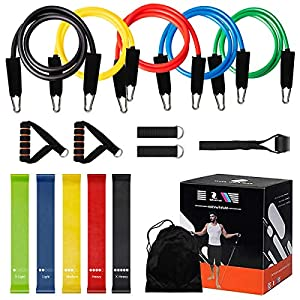 MegiKio Exercise Band Set,16PCS Include 5 Resistance Loop Bands,5 Resistance Bands with Handles,Ankle Straps,Door Anchor,Carry Bag
