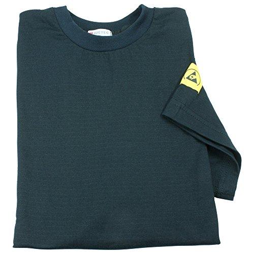 Wetec ESD-T-Shirt, XL, schwarz, atmungsaktiv, abgesetzte Kragen, Baumwollgewebe