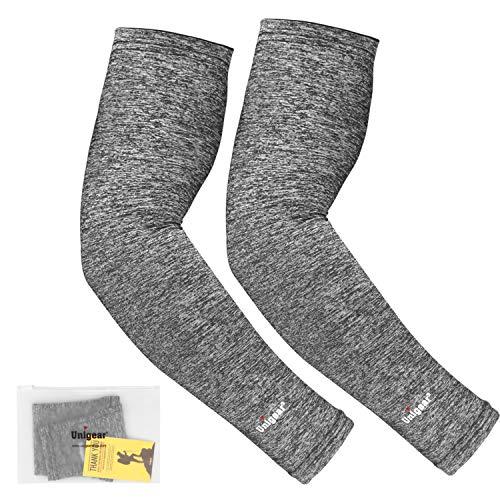 Unigear Arm Sleeves, Armlinge mit Kühleffekt und UV-Schutz, für Herren Damen, rutschfest, für Laufen Radsport Fußball Basketball Golf Wandern