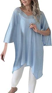 Fashion Casual Women Solid T-shirts Irregular Hem Tops O Neck Split Blouse