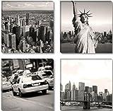 Visario Image sur Toile 6605 4x30 x 30 cm XXL New York USA Tableaux pour la Mur, encadrés, prêts à Poser, Tout Les Images sur châssis géant Bois véritable.