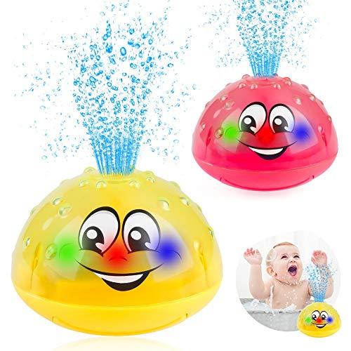 Sinoeem Kinder Schwimmende 2 x Badespielzeug Wasserspielzeug Automatische Induktions Sprinkler mit Licht Babyspiel Wasserbad Spielzeug für Baby Kleinkinder Kinder Party