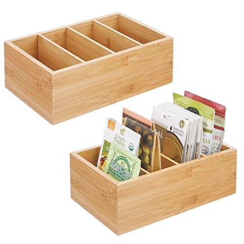 mDesign 2er-Set Küchen Organizer – praktische Aufbewahrungsbox mit 4 Fächern für Tütensuppen, Gewürze oder Snacks – moderne Box für Küche und Speisekammer – naturfarben