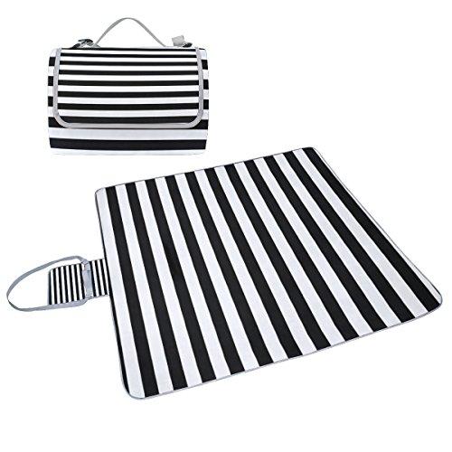 Bennigiry gestreift) Schwarz/Weiß Streifen-, Outdoor-, Picknickdecke, extra groß, wasserdicht, für Outdooraktivitäten, Strand, Wandern, Reisen, Multi#001, Einheitsgröße