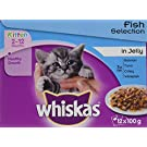 whiskas Junior Wet Cat Food for Kittens and Young Cats 2-12 Months, Fish Selection in Jelly, 48 Pouches (48 x 100 g)