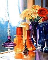 Diyデジタル絵画デジタル絵画大人と子供スターターキット家族の絵画菊バラの花の絵画
