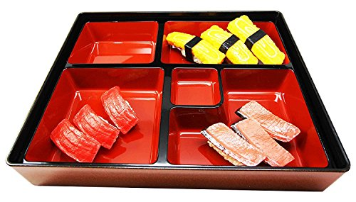 Japanese Gold Colored 5 Compartments Two Piece Bento Box Lacquered Plastic Serving or Display Platter Tray 1175 by 95