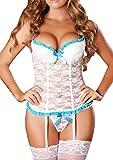 EMILYLE Damen Hot Vintage Babydoll Push-Up Erotik Lingerie V-Ausschnitt Spitze Unterwäsche mit...