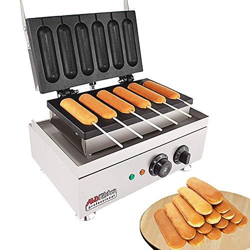 ALDKitchen Hot Dog wafelijzer Commercieel 6 stuks Lolly Frans Hotdog | Elektrisch roestvrij stalen knapperige bakken-maïshond muffinworstwafels non-stick EINFANCHE zilver