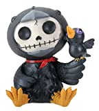 SUMMIT COLLECTION Furrybones Leopold Signature Skeleton in Black Raven Costume with a Little Raven Perched on Wing