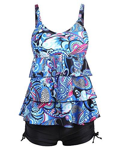 Donna Stampato Tankini Push Up Due Pezzi Costumi da Bagno Gonna E Pantaloncini Taglie Forti Beachwear Blu 5XL