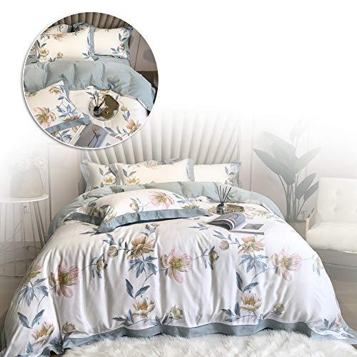 BOROAO Parure de lit, Bettbezug und Kissen - Tencel vierteilige amerikanische Presse Sommer EIS Seide schläft nackt EIS kühle Neue Betten,1.8m(in)