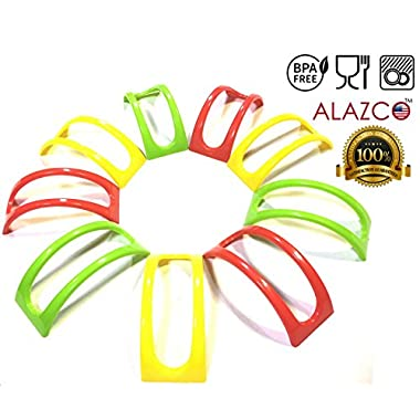 9pc Colorful Stackable ALAZCO Taco Holder Stand Server - For Soft & Hard Shell Taco - Backyard Party Picnic Fiesta (3 Red, 3 Green, 3 Yellow) BPA Free