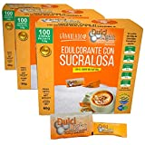 DulciLight Edulcorante Natural con Sucralosa 300 Sobres Con Fibra Vegetal Guar. 3 estuches con dispensador de 100 sobres c/u.