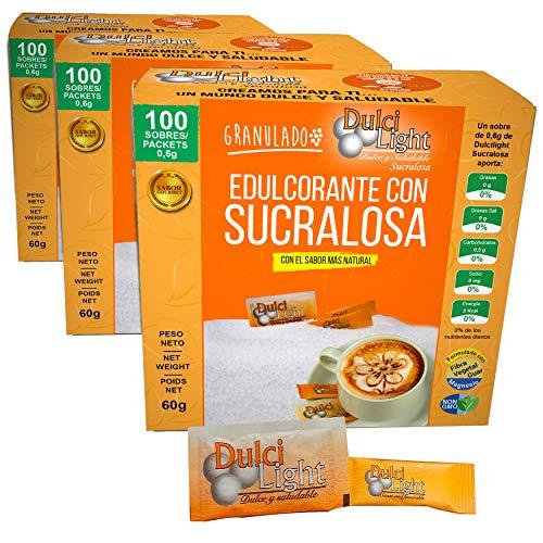 DULCILIGHT sucralosa edulcorante natural 300 Sobres granulado,con dispensador y fibra vegetal. El sabor natural del azúcar