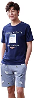 ルームウェアセット パジャマ メンズ ポケット付 上下セット ルームウェア プリント 寝間着 薄手 通気吸汗 丸首 部屋着 快適