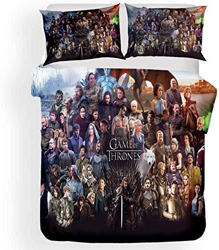 NBAOBAO Game of Thrones, set di biancheria da letto 'Una canzone di EIS e Feuer', soffice e morbido, copripiumino in microfibra (thrones, 6,220 x 240 cm + 50 x 75 cm x 2)