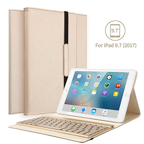 KVAGO iPad 9.7 Tastatur Hülle, iPad 9.7 Case mit 7 Farbe Hintergrundbeleuchtung Ultra-dünn QWERTZ Bluetooth Tastatur und Auto Schlaf/Aufwach Funktion für Apple iPad 9.7 Zoll 2017/2018 - Gold