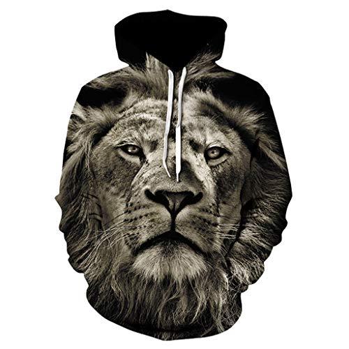 CTAU Mens Unisex Tops Animal Pattern 3D Printing Hoodie Hooded Long Sleeve Pullover Sweatshirts (L, B-Dark Gray)