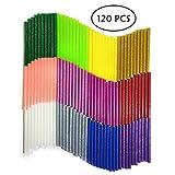 Colla a Caldo Glitter, YLX Adesivo Colla a Caldo Pistola Bastoni 120 pezzi Colorato Stick di Colla a Caldo per DIY Arte Mestiere Sigillatura e Riparazione Rapida 12 colori