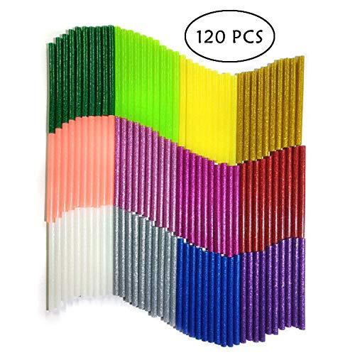 YLX Farbige Glitzer Klebesticks Heißkleber Klebestifte Kunst Handwerk Heißleim Pistole Kleber Sticky Sticks, 7mm * 100mm (Glitter-120pcs)