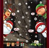 UMIPUBO Natale Adesivi Porta Natale Vetrofanie Addobbi Rimovibile Adesivi Statico Fai da te Finestra Sticker Decorazione Babbo Natale Vetrina Wallpaper Adesivi (Natale 4)