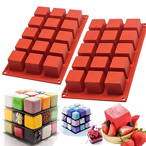 MUYULIN Silicone Mousse Cake Molds (2 Pack) Non-Stick Candy Molds for Baking Cakes for Rubik's Cube Chocolate Truffle Cookie Cake (MJ11)