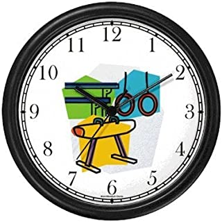 Gymnastic Equipment or Apparatus Montage - Rings, Pommel Horse, Parallel Bars Gymnastics Theme Wall Clock by WatchBuddy Timepieces (White Frame)