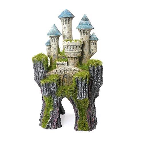 Rosewood Muschio di Palissandro ricoperto Mitico Castello di Pesci/Acquario Ornamento