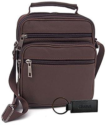 Charmoni® - Sac pochette sacoche à bandoulière poignet 5 poches et sa porte clé cuir - homme femme - en cuir vachette véritable - NEUF