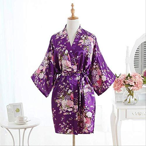 XFLOWR Vrouwen Satijn Korte Nachtjapon Sakura Bloemen Kimono badjas Bloemen Pyjama Bruiloft Bruidsmeisje Jurk Jurk Jurk