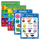 4 Pack - ABC Alphabet + Numbers 1-10 + Shapes + Colors Poster Set - Toddler Educational Charts (Laminated, 18' x 24')