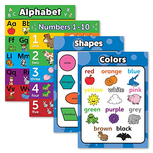 """4 Pack - ABC Alphabet + Numbers 1-10 + Shapes + Colors Poster Set - Toddler Educational Charts (Laminated, 18"""" x 24"""")"""